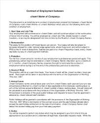 Free Employment Contract Templates Employment Contract Template 15 Free Sample Example Format