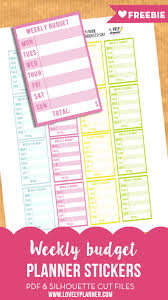 free budget free weekly budget planner stickers printable cut file lovely