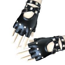 ZXZ <b>Womens</b> Leather Half Finger <b>Gloves Punk Rivets</b> Belt <b>Gloves</b> ...