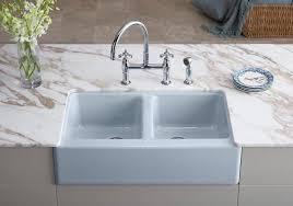 apron sink installation. Double Bowl Farmhouse Apron Sink On Installation