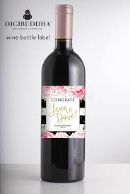 Engagement Wine Label Modern Wine Bottle Stickers Engagement Etsy