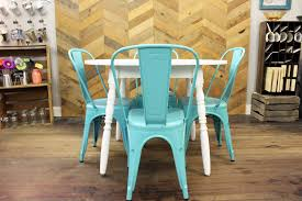 white metal furniture. White Round Kitchen Table With Blue Metal Chairs Furniture
