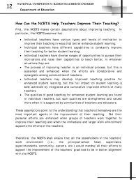 national competency based teacher standards ncbts a professional individual teachers have different capabilities to constantly improve their teaching for better student learning