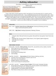 Below you can find an example of a CV (mainly for customer service/ hospitality roles).
