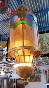 huge stained glass chandelier