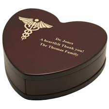 personalized heart shaped rosewood keepsake box with caduceus