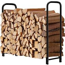 4ft Firewood Rack Outdoor Log Holder for Fireplace Heavy Duty Wood Stacker Patio Deck Metal Amazon.com :