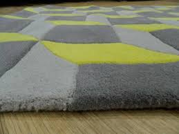 geometric geo07 wool rugs in yellow grey capitalrugsuk