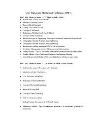 summary list for diploma in mechanical engineering t  v12 diploma in mechanical techniques dmt