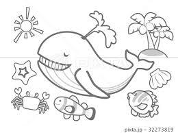 夏の海ぬりえのイラスト素材 32273819 Pixta