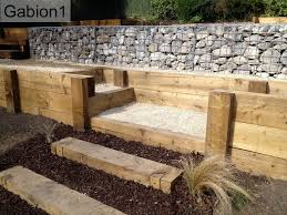 Small Picture gabion retaining wall and timber garden steps httpwwwgabion1