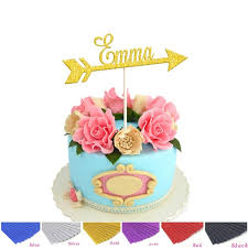 Us 999 1pcs Personalized Custom Gold Glitter Name Cake Topper With Arrow Cake Toppers Birthday Party Diy Supplies Decoration In Cake Decorating