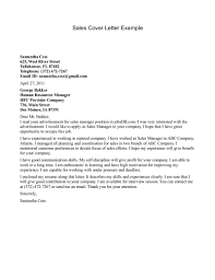Cover Letter Example Sales Best Sales Cover Letter Examples