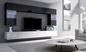 Superb Image Is Loading LIVING ROOM WHITE BLACK WALL UNIT MODERN SET