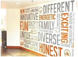 word wall art values wall graphic grey and orange typography word environmental design decor app office