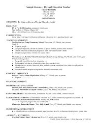 Elegant Resume Sample For Physical Education Teacher Margorochelle Com