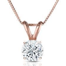 parikhs round diamond pendant prime quality 14k rose gold 0 12ct ijk color i1 clarity