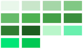 Green Material Design Color Chart Color Name Identifier