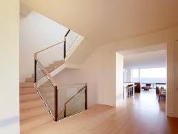view in gallery a glass and wooden handrail
