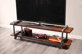 cool diy portable industrial tv stands made from pipe and reclaimed wood plus wheels for narrow living room spaces ideas
