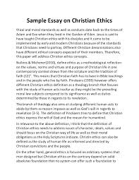 sample essay on christian ethics