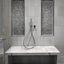 modern white tile shower. Unique Tile Stunning Modern Shower Featuring Black U0026 White Tile Marble For