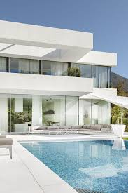 architecture houses glass. Dazzling Architecture House Design With White And Glass Wall Also Swimming Pool Complete Marmer Floors Houses