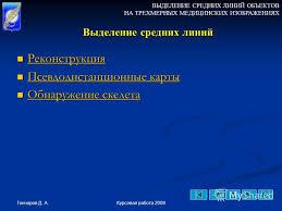 Презентация на тему Выделение средних линий объектов на  8 ВЫДЕЛЕНИЕ СРЕДНИХ ЛИНИЙ ОБЪЕКТОВ НА ТРЕХМЕРНЫХ МЕДИЦИНСКИХ