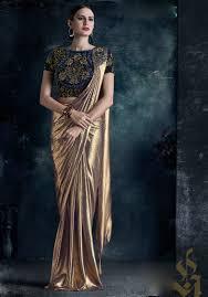 Designer Stitched Saree Golden Fancy Silk Readymade Saree