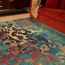 cool design ideas turquoise and orange area rug 3