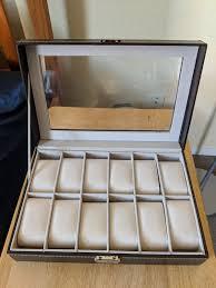 12 slot watch jewelry box glass top display case organizer