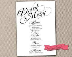 wedding drink menu. 61 Inspirational Wedding Drink Menu Template Sick Note Template Free