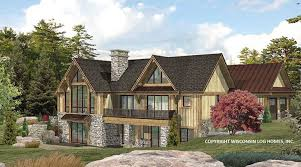 lakefront rear rendering by wisconsin log homes 2 lakefront log home floor plan