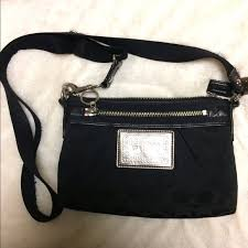 COACH Poppy Black Canvas Crossbody Bag