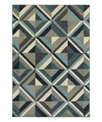 blue gray modern geometric rug