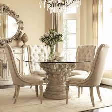 beige white dining room set with carved beige acrylic based dining table with round glass top