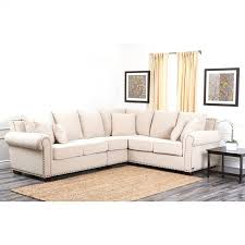 abbyson bromley fabric nailhead sectional sofa in sandstone