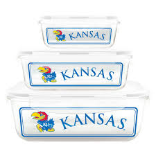duck house collegiate university of kansas glass food container