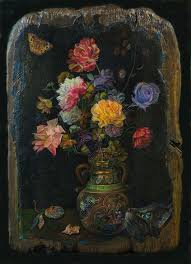 flowers on a black background sergey lesnikov art