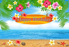 Mehofoto Summer Beach Photography Backdrops Happy Birthday Party Decoration Flower Photo Studio Booth Background 8x6ft