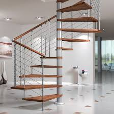 Square spiral staircase / wooden steps / metal frame / without risers -  SILVER
