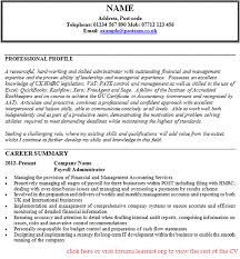 good luck payroll administration resume