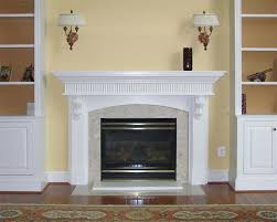 white mantel with reed and corbels