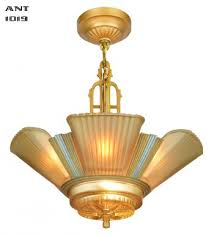 art deco streamline 6 light chandelier by mid west mnf ant 1019