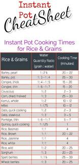 Pressure Cooker Rice Chart Instant Pot Cooking Times Free Cheat Sheets Instant Pot