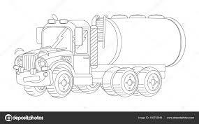 Cartoon Gelukkig Lading Vrachtwagen Met Tank Stockfoto