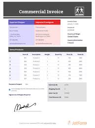Create A Commercial Invoice Commercial Invoice Template Pdf Templates Jotform