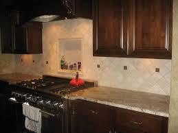 tumbled stone kitchen backsplash. Contemporary Kitchen Design With Open Storage Brown Tumbled Stone Tile Backsplash, Solid Wood Cabinet Backsplash S
