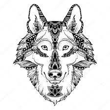 Wolf Hoofd Voor De Kleurplaat Pagina Afdrukken Stockvector
