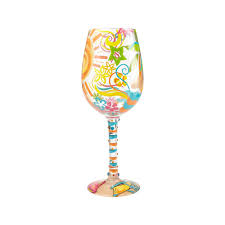 here comes summer painted wine glass